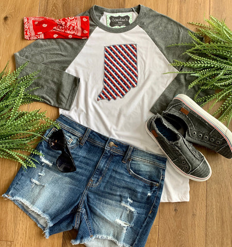 Indiana tee grey sleeve star and stripes