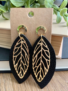 Leather and gold leaf earrings