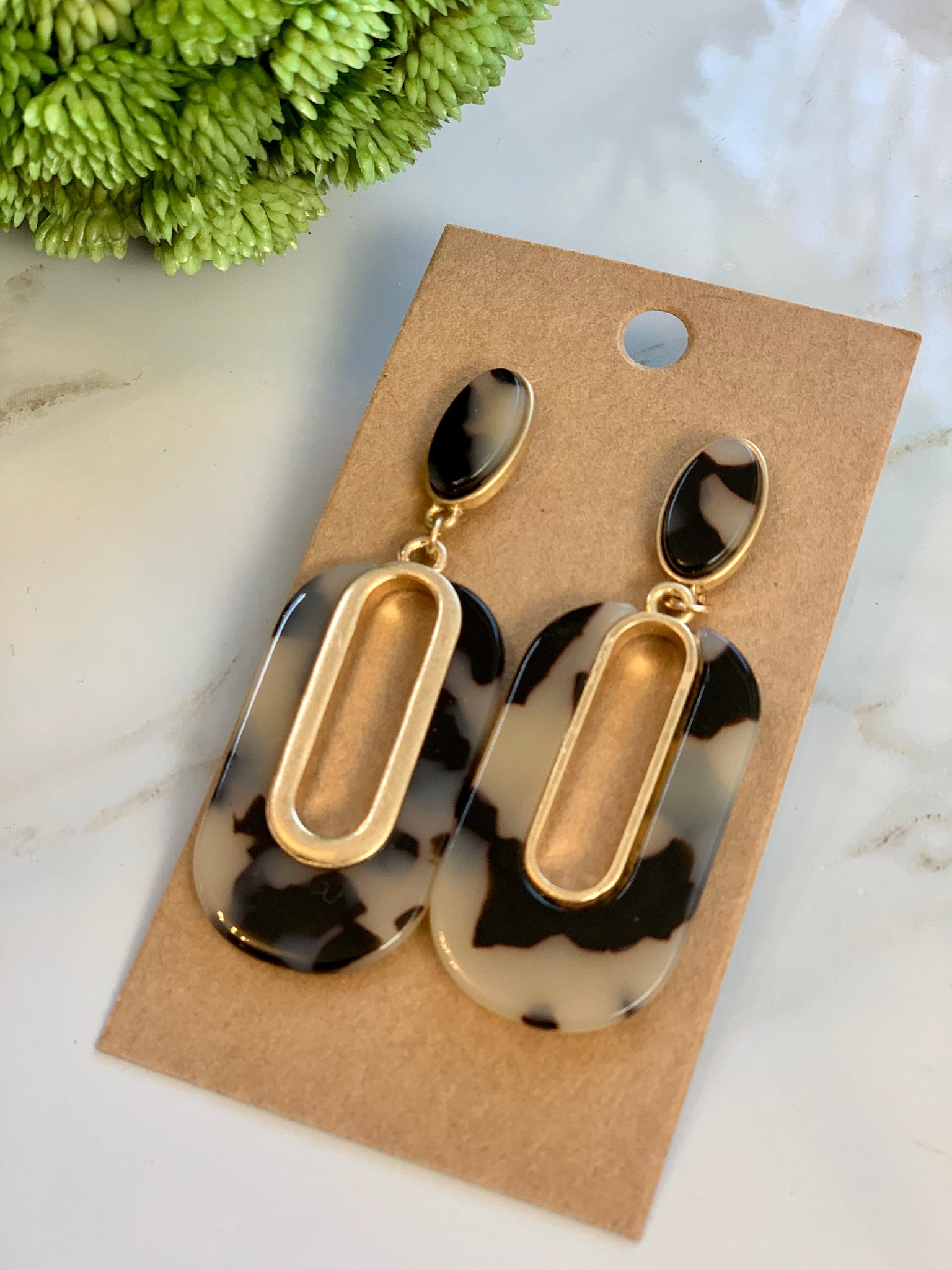 Animal Acrylic and gold oval earrings