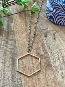Hexagon and crystal long necklace
