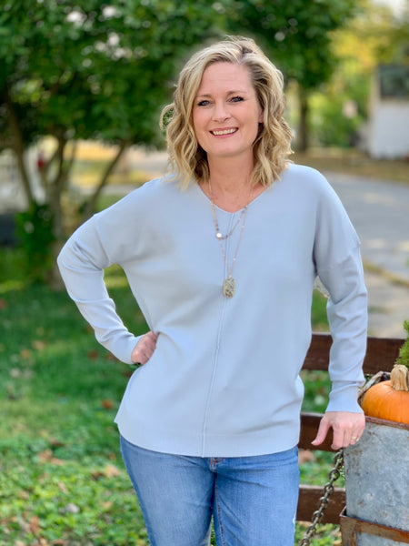 V neck middle seam sweater
