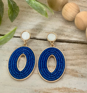 Royal Blue Bead Oval Dangle Earring