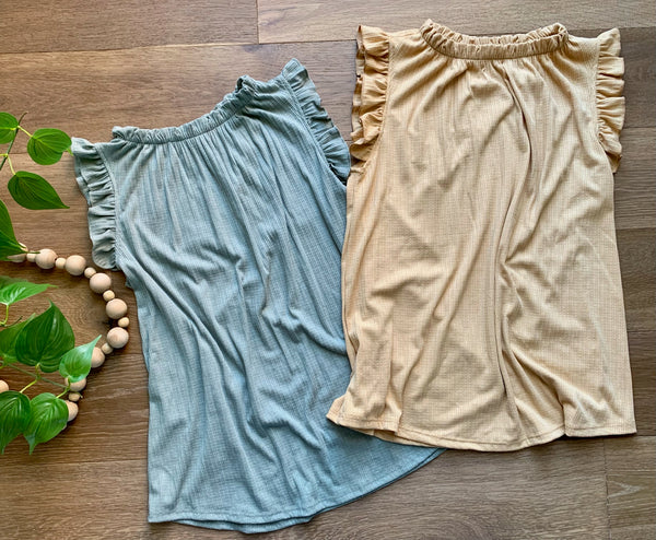 Ruffle neck and sleeve tank