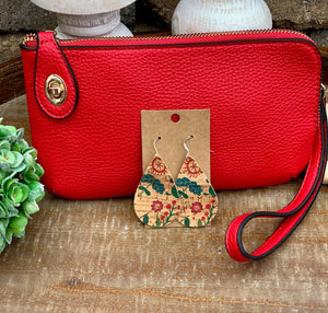 Box of Sunshine  - Red Clutch with matching leather floral earrings