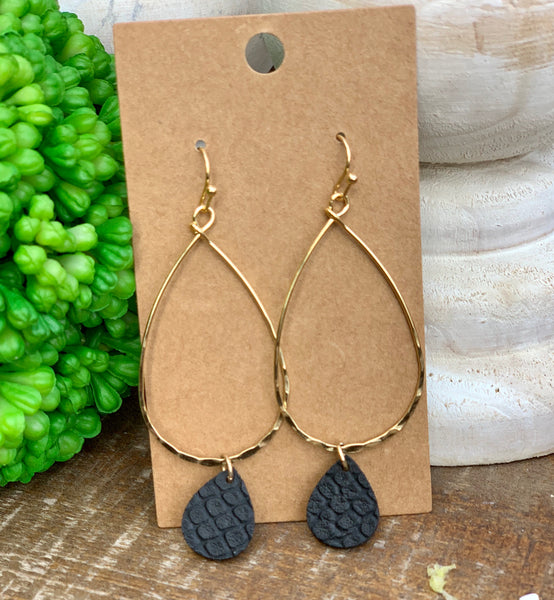 Tear drop leather earring