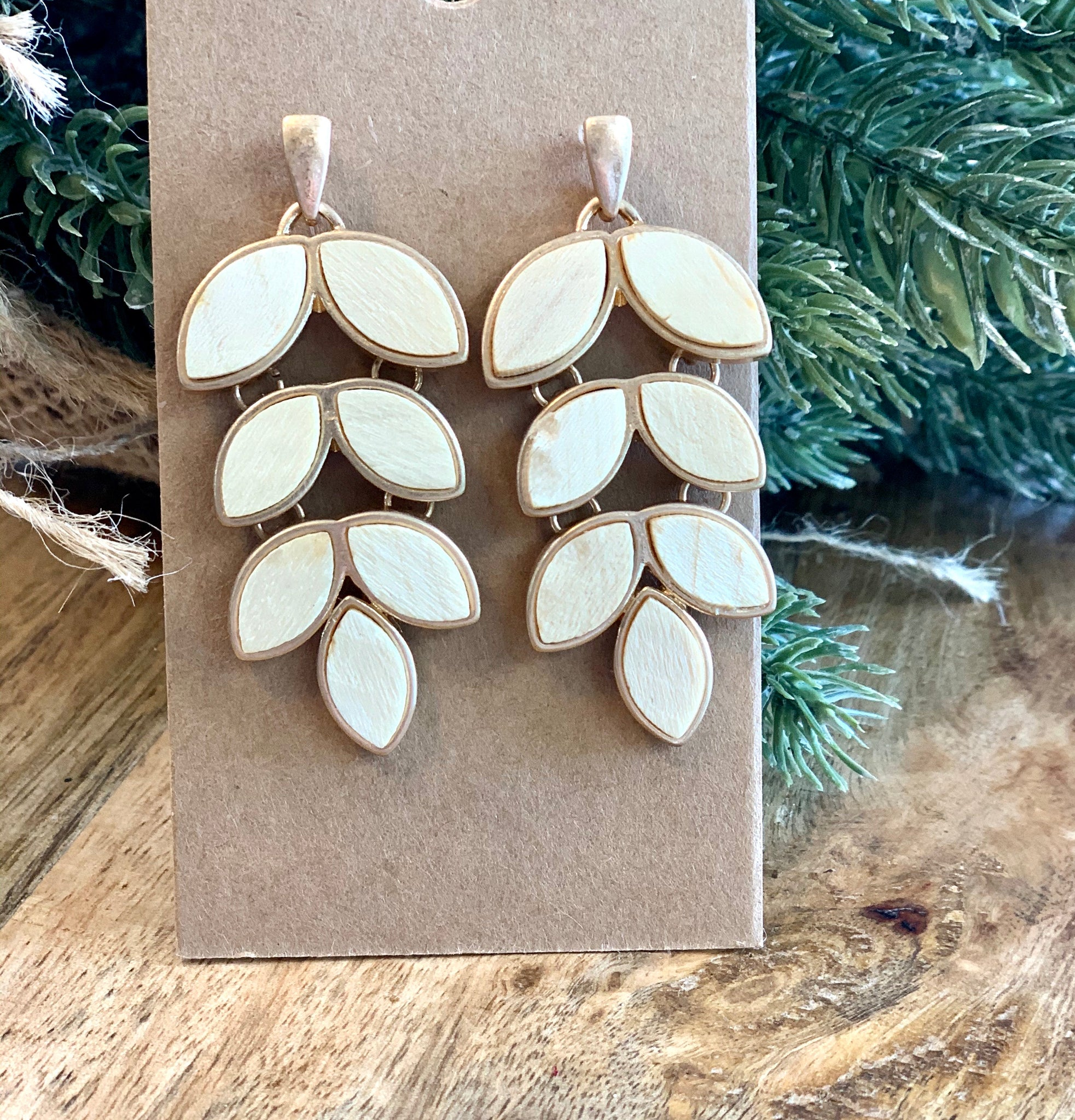 Wood leaf earrings