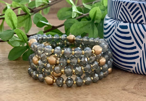 Grey crystal and gold beads