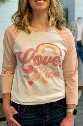 Love is kind baseball t-shirt
