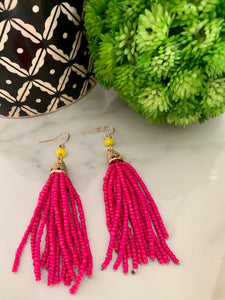 Large Tassel Earrings- Hot Pink