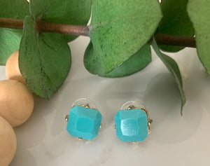 Square Gem Stone Stud Earrings- Bright Blue