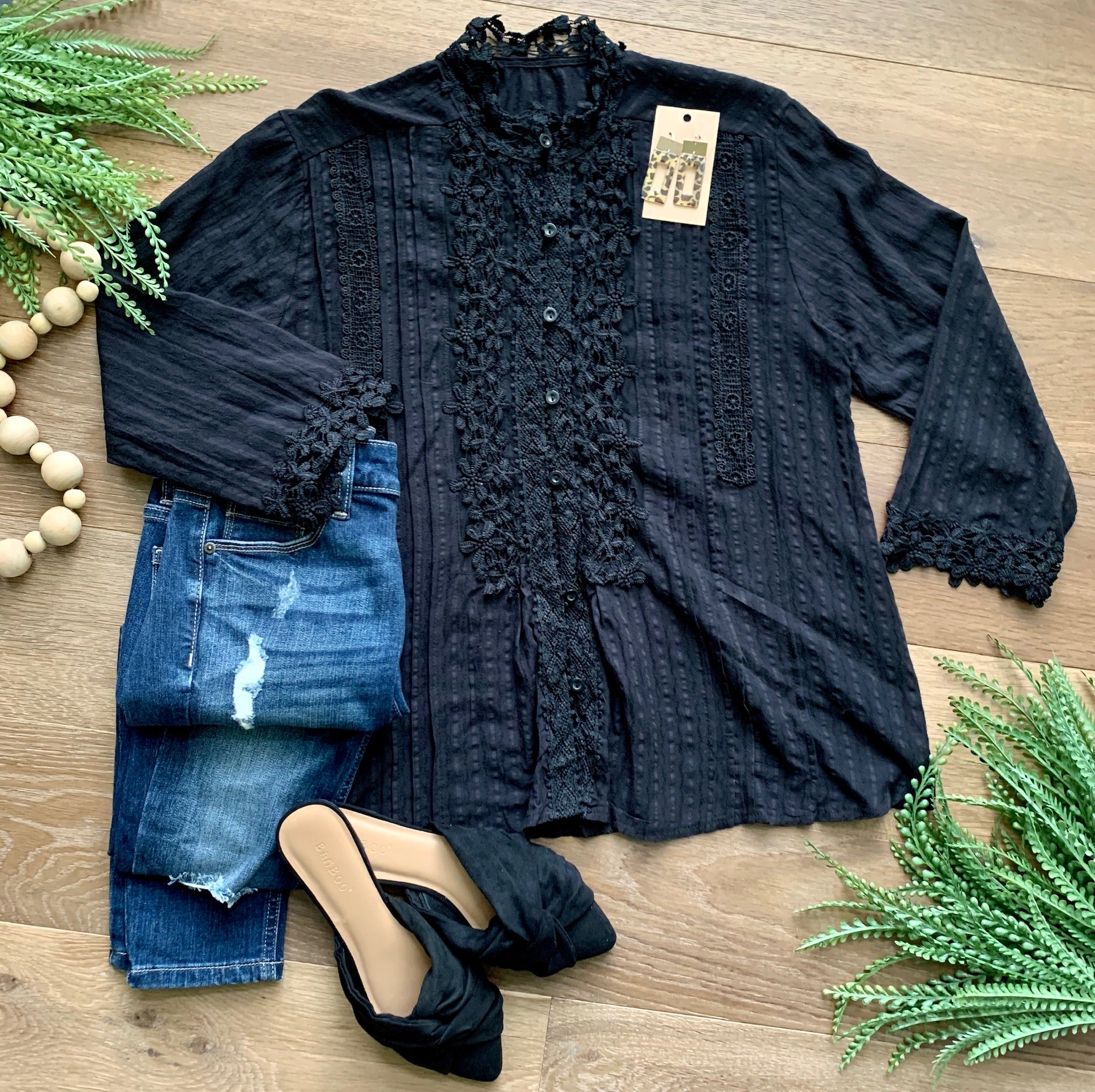 Black crochet button up shirt SALE