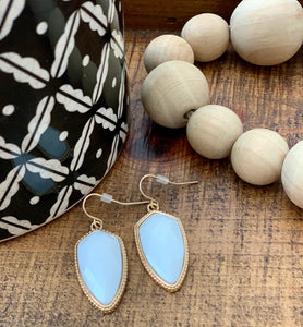 White and Gold  Stone Earrings