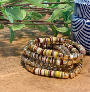 Heishi and gold bead  bracelet
