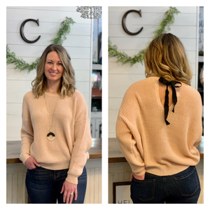 Blush sweater with back tie