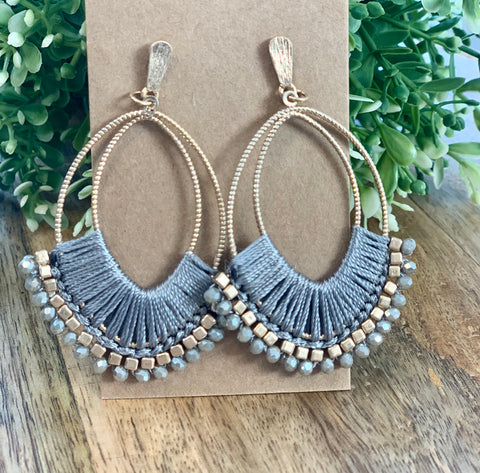 Bead and thread oval earring