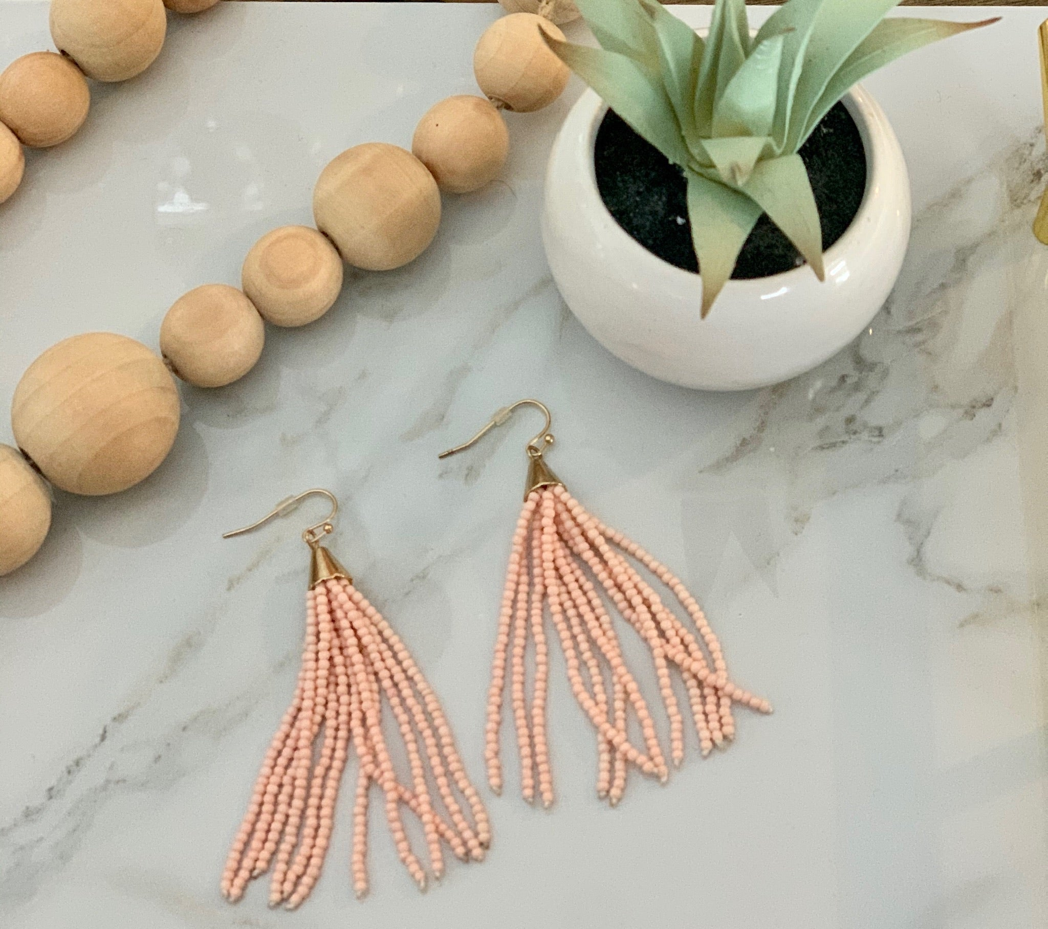 Light Pink Tassel Earrings