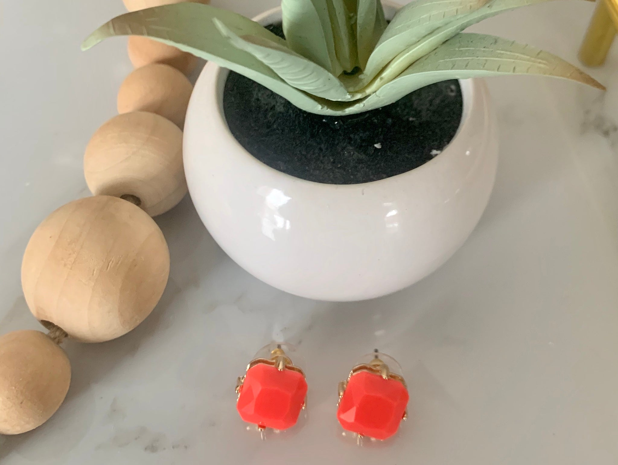 Square Gem Stone Stud Earrings- Coral