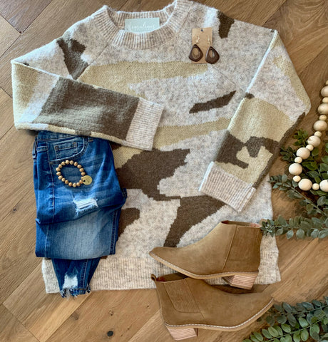 Beige camo sweater