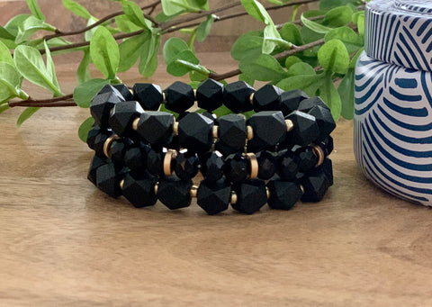 Black wood and crystal bracelet