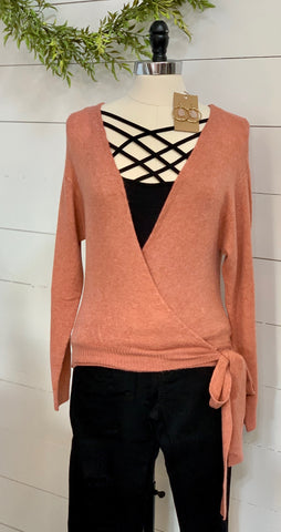 Wrap side tie sweater