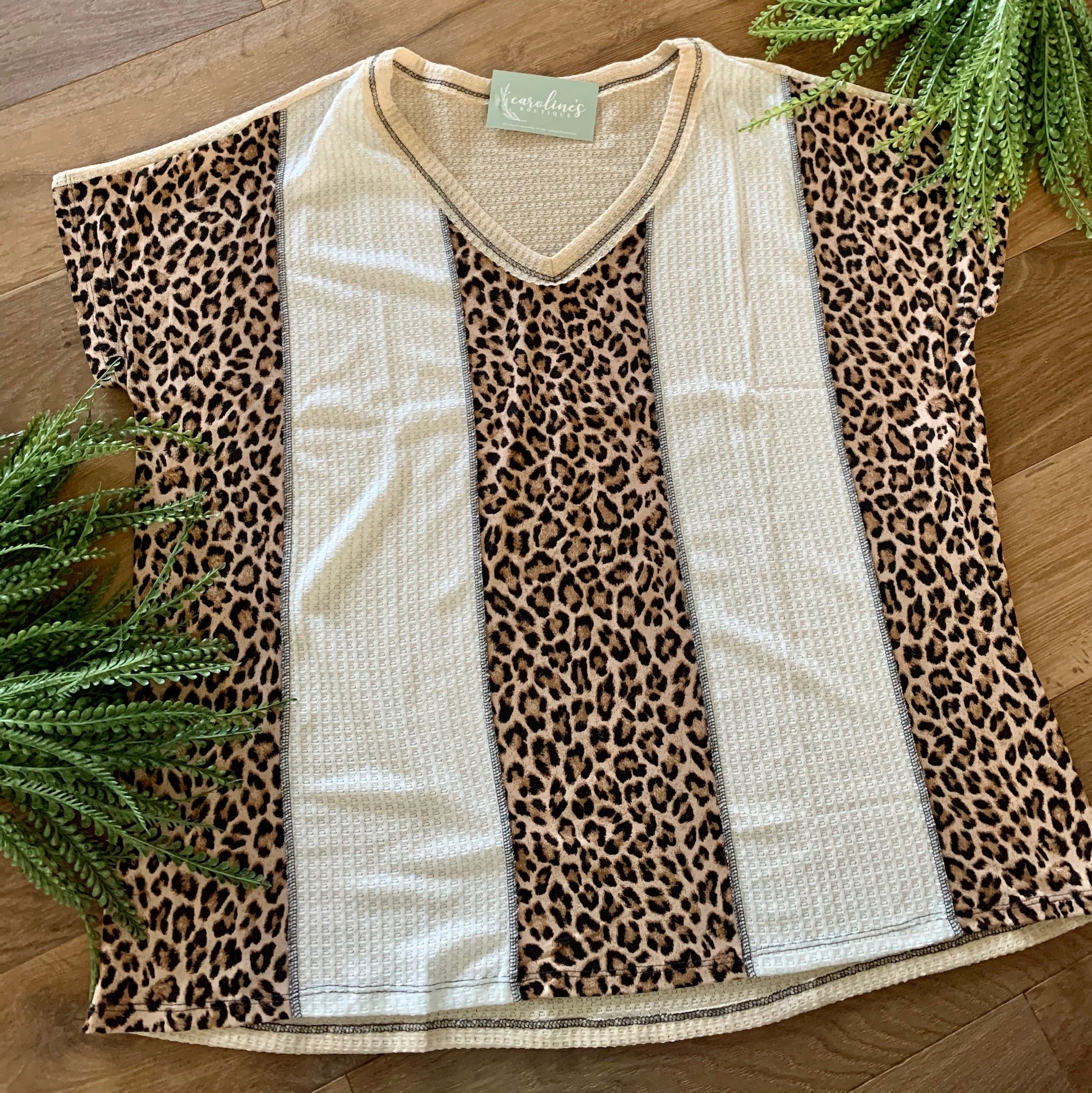 Plus thermal V neck leopard
