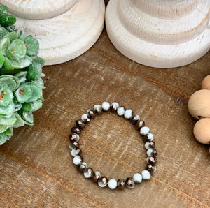 white and brown shiny bead bracelet - Caroline's Boutique Indiana