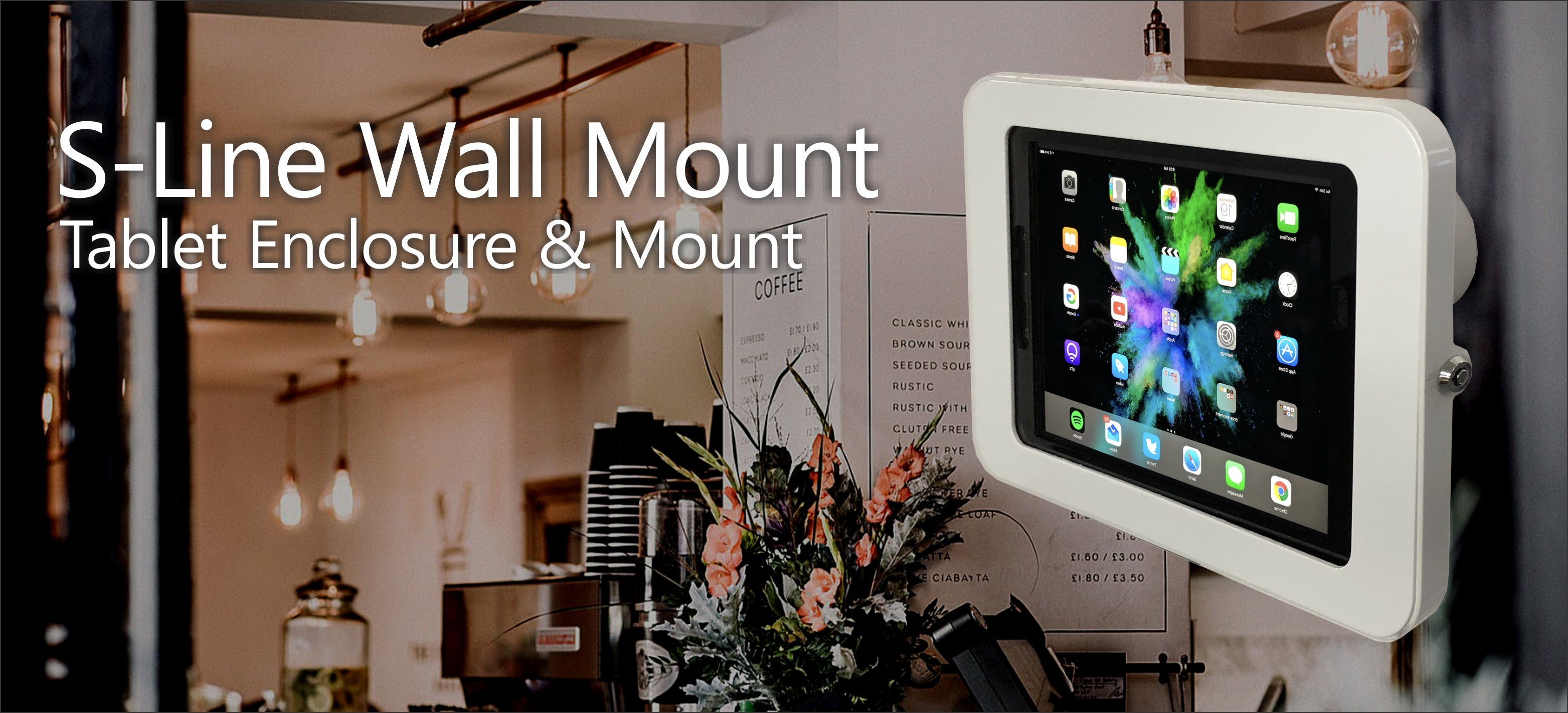 S Line Wall Mount tablet enclosure and mount