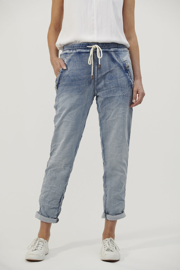 Italian Star Denim Jogger with Gold Trim