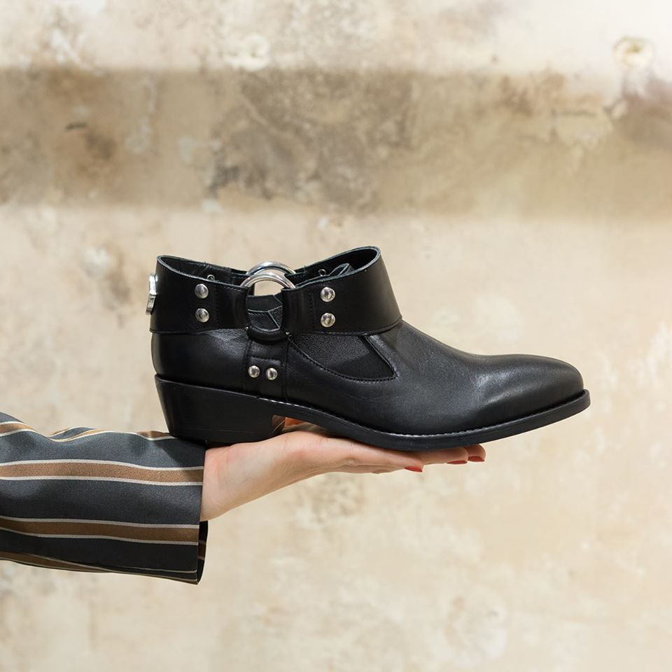 Ottod'Ame Black Biker Ankle Boot