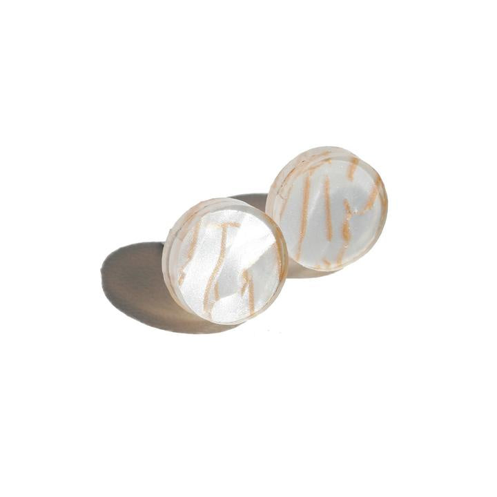 Martha Jean Circle Stud Earrings Tiger White