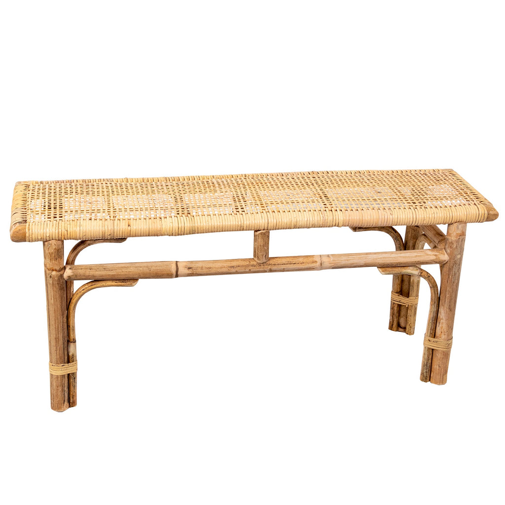 BENCH SEAT WITH WOVEN TOP 450 X 1100 X 300MM NATURAL