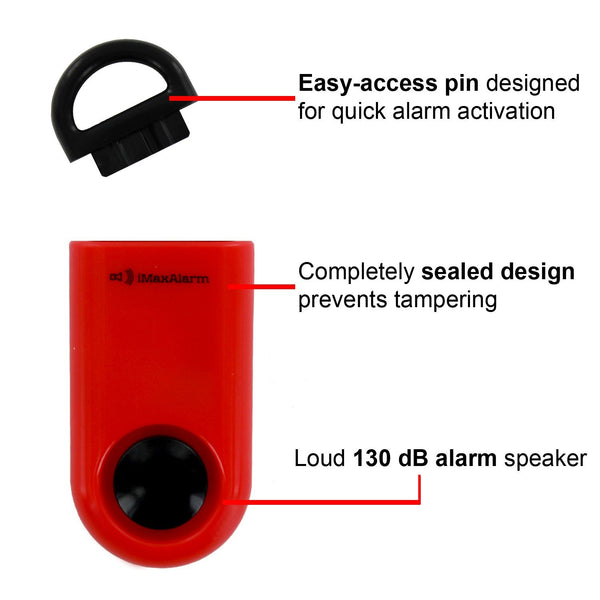 Portable Personal Security Alarm Red-Black