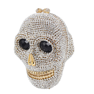 Skull Gang Crystal Clutch Bag - Pynk Kandi