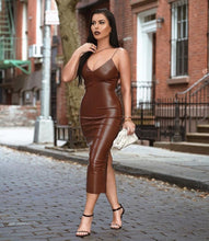 Load image into Gallery viewer, Brown leather dress - Pynk Kandi