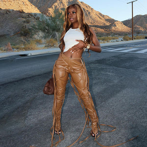 Split leather pants - Pynk Kandi