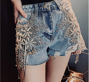 Moda Denim Jeans Crystal Shorts - Pynk Kandi