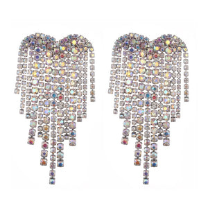 Rhinestone Heart Earrings - Pynk Kandi