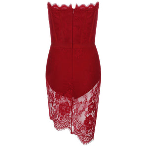 Revolve red lace strapless dress - pynk Kandi