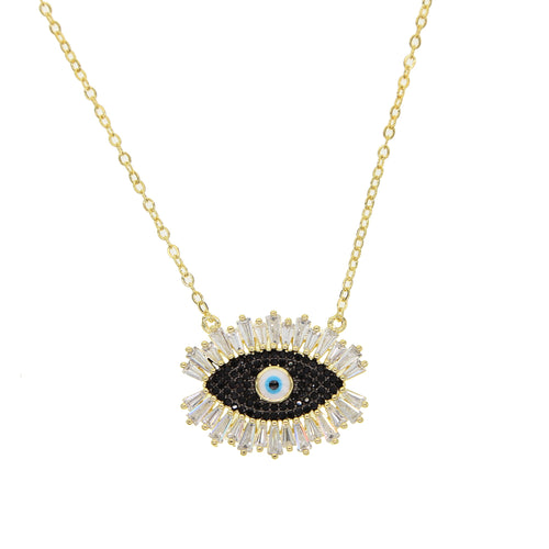 Black & Gold Evil Eye Necklace - Pynk Kandi