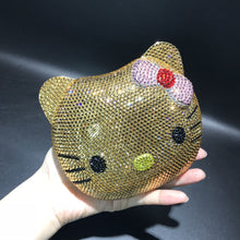Load image into Gallery viewer, Gold Crystal hello kitty evening bag - Pynk Kandi