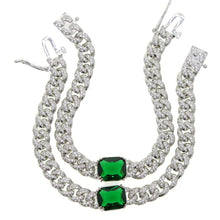 Load image into Gallery viewer, Emerald green cubic link bracelet - Pynk Kandi