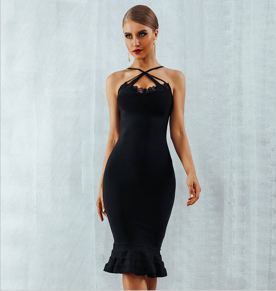 Elle Lace Bandage Dress - Pynk Kandi