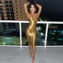 Load image into Gallery viewer, House of Cb gold dress - pynk Kandi