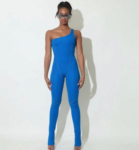 Blue off shoulder Jumpsuit - Pynk Kandi