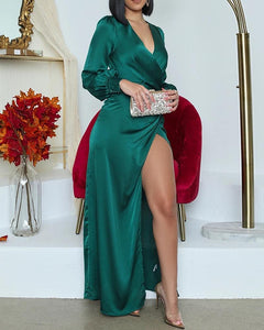 Long sleeve green gown - Pynk Kandi
