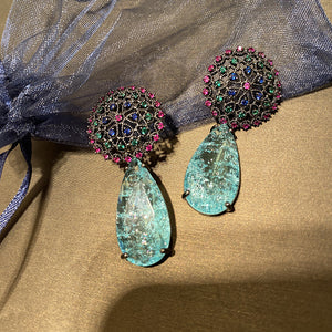 Broken Blue Lagoon Earrings - Pynk Kandi