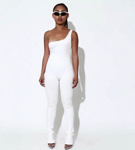 White off shoulder Jumpsuit - Pynk Kandi