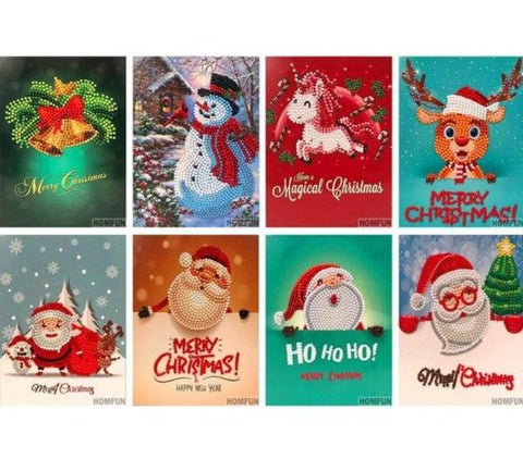 8 Christmas Cards with Santa & Reindeer - Diamond Painting Corner