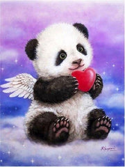 Angel Panda with Heart Diamond Painting Kit - Diamond Painting Corner