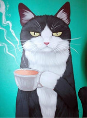 Black and White Cat with Coffee - Diamond Painting Corner